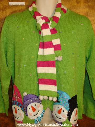 Lime Green Snowman Ugly Christmas Sweater with Scarf