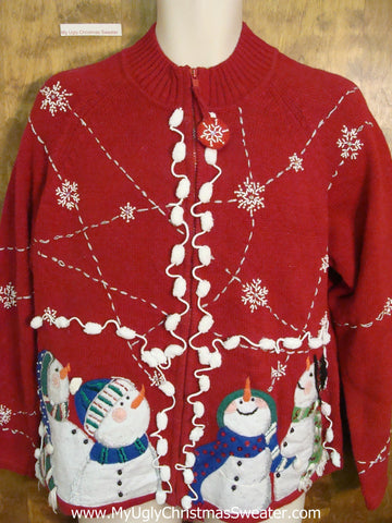Fantastic Ugly Christmas Sweater with Snowmen and Pom Poms