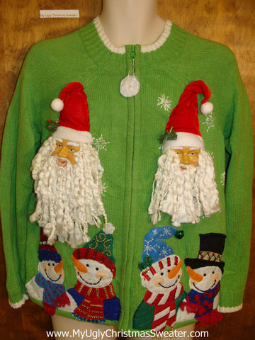 3D Santas Green Ugly Christmas Sweater