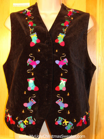 Tacky Ugly Christmas Sweater Party  Vest with Jingle Bells (f367)