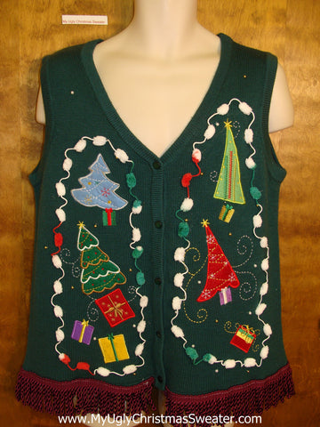 Crazy Pointy Trees Ugly Christmas Sweater Vest