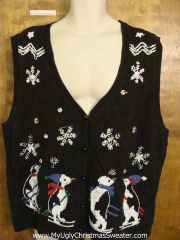 CHEAP Ugly Christmas Sweater Vest with Penguins