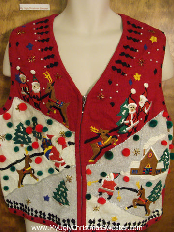 Hiking Santa and Reindeer Ugly Christmas Sweater Vest