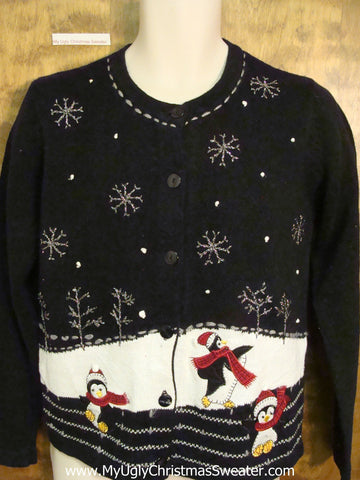 Playing Penguins Two Sided Ugly Christmas Sweater Cardigan