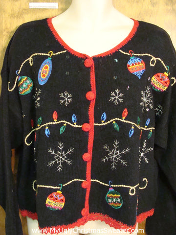 Black Ugly Christmas Sweater Cardigan with Ornaments