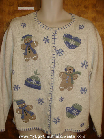 Baby blue and Brown Ugly Christmas Sweater Cardigan