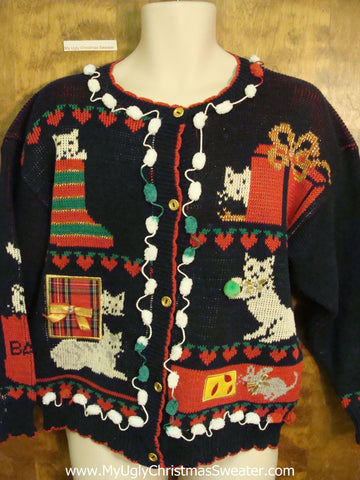 80s Crazy Cat Lady 2sided Ugly Christmas Sweater Cardigan