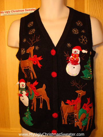 Tacky Ugly Christmas Sweater Vest with Snowmen and Reindeer and Sequens  (f36)