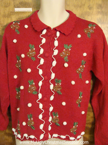 Ugly Christmas Jumper With Ivy and Pom Poms