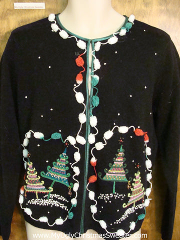 Ugly Black Christmas Jumper with Striped Trees
