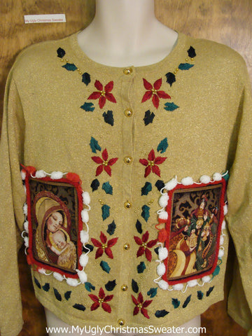 Ugly 80s Religeous Christmas Jumper with Poinsettias