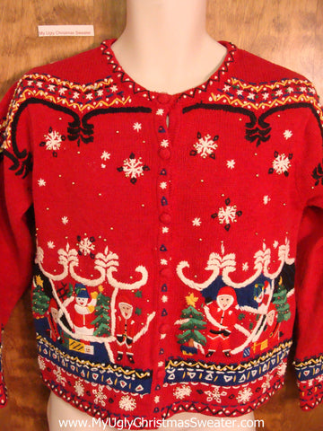Ornate Nordic Red Ugly Christmas Jumper