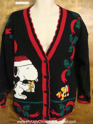 Snoopy Dog 80s Ugly Christmas Jumper