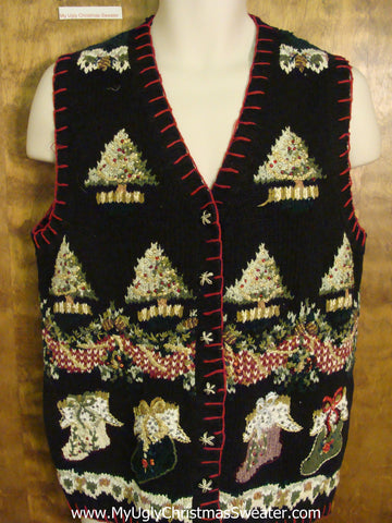 Horrible Ornate Trees Ugly Christmas Jumper Vest