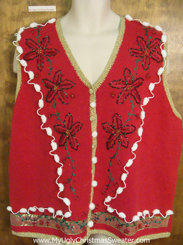 Red Ugly Christmas Jumper Vest with Fancy Poinsettias