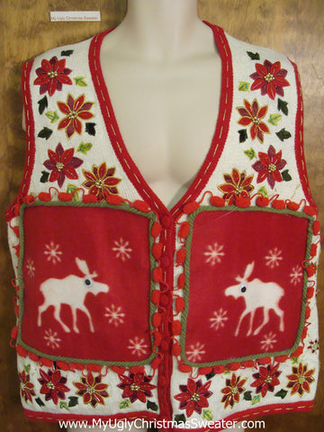 Fantastic Reindeer and Poinsettias Ugly Christmas Jumper Vest