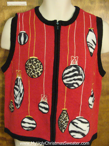 Animal Print Ornaments Ugly Christmas Jumper Vest