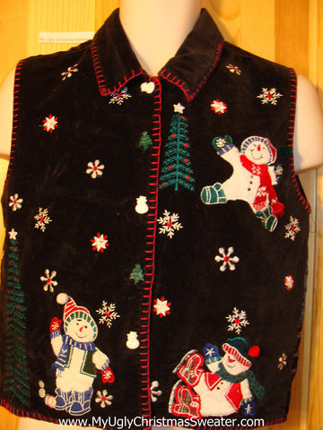 Tacky Ugly Christmas Sweater Party  Vest with Happy Carrot Nosed Snowmen (f372)