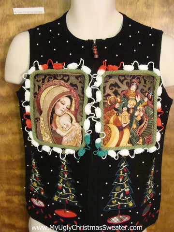 Religeous Themed Ugly Christmas Jumper Vest