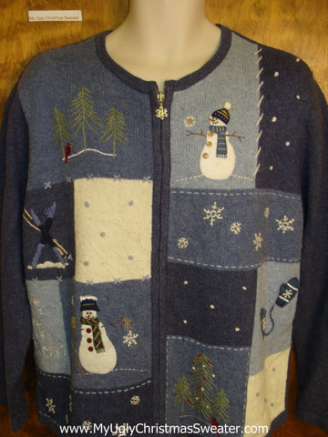 Blue Blocks Sweater with Snowmen and Snowflakes Ugly Christmas Jumper