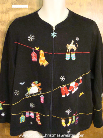 Black Santa Clothesline Ugly Christmas Jumper