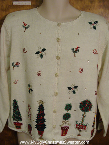 Ugly Christmas Jumper Cardigan with Padded Shoulders