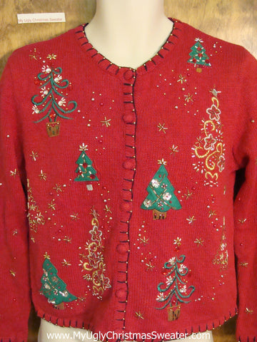 Bling Trees Ugly Christmas Jumper Cardigan