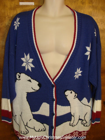 Huge Polar Bears 80s Ugly Christmas Jumper Cardigan