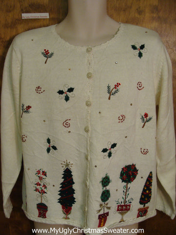 Plant Themed 80s Ugly Christmas Jumper Cardigan