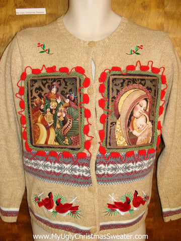 Religious Mary and Jesus Tacky Christmas Jumper Cardigan