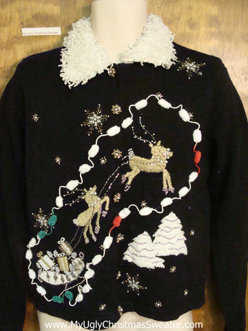 Fancy Flying Reindeer Ugly Christmas Jumper Cardigan