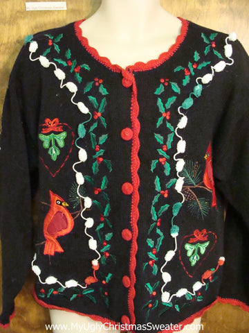 Ugly Christmas Jumper Cardigan with Birds and Ivy