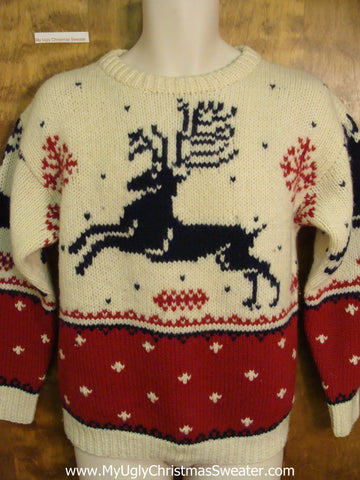 Leaping Reindeer Classic Christmas Jumper Pullover