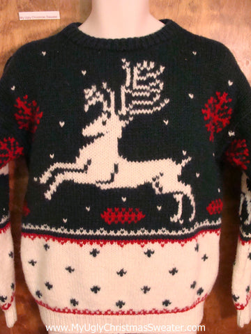 Vintage Leaping Reindeer Ugly Christmas Jumper Pullover