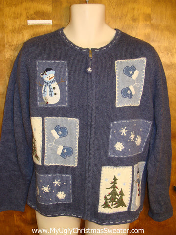 Tacky Blue Snowman Ugly Christmas Jumper