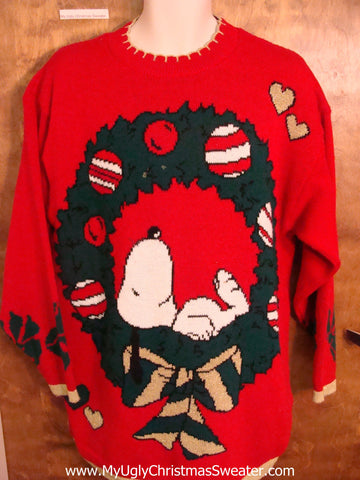 Snoopy Dog 80s Acrylic Ugly Christmas Jumper Pullover