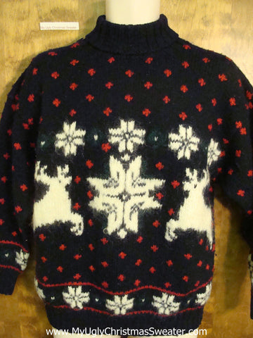 Leaping Reindeer Ugly Christmas Jumper Pullover