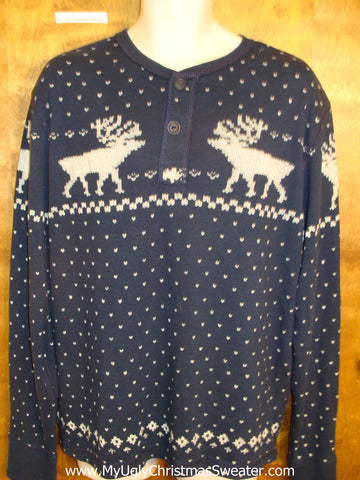 New Mens Polo Reindeer Christmas Jumper Pullover