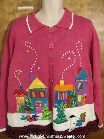 Crazy Pink Ugly Christmas Jumper with Fringe