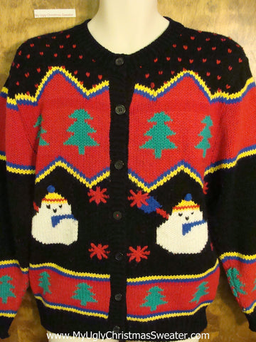 Retro 80s Ugly Christmas Jumper with Puffy Snowman