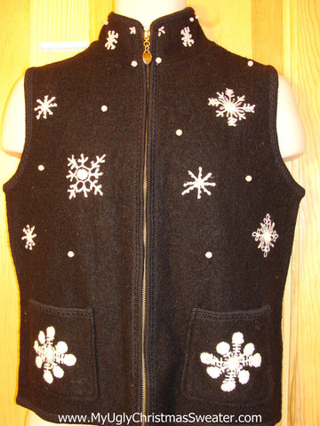 Tacky Ugly Christmas Sweater Party Vest Boiled Wool  with Snowflakes 2sided   (f376)