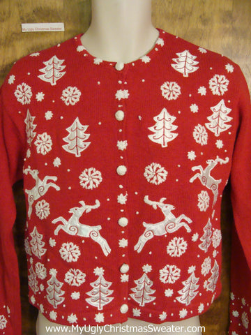 Amazing Flying Reindeer Red Ugly Christmas Jumper