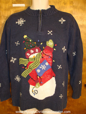 High-Five Snowman Pullover Ugly Christmas Jumper Pullover