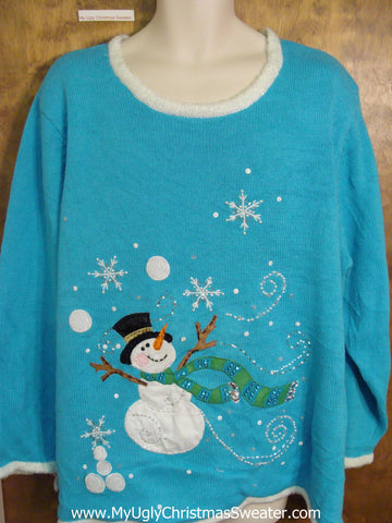 Best Baby Blue Bling Ugly Christmas Jumper Pullover