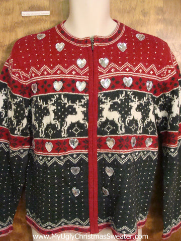 Vintage Leaping Reineder Tacky Christmas Sweater