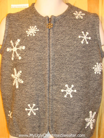 Tacky Ugly Christmas Sweater Vest with Snowflakes 2sided (f378)