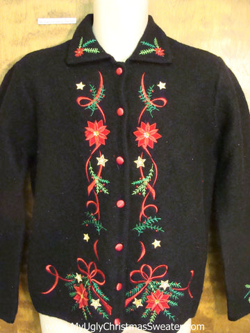 Poinsettia Themed Ugly Christmas Jumper