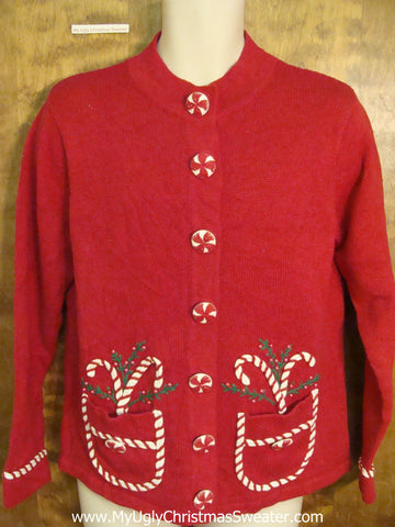 Funny Candy Cane Pockets Ugly Christmas Jumper