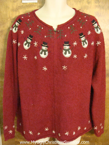Snowman Yoke Nordic Ugly Christmas Jumper
