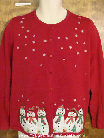 Snowman Six Pack Ugly Christmas Jumper Pullover